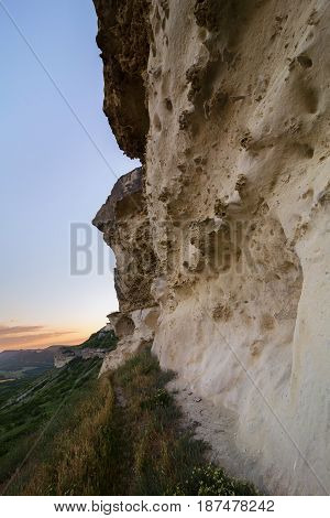 Walls of the Cave city Bakla in Bakhchysarai Raion, Crimea.
