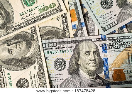 Background of 100 dollar bills. financial concept