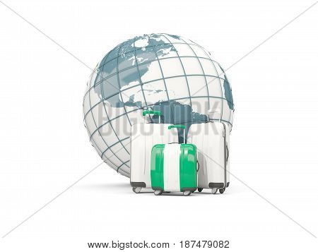 Luggage With Flag Of Nigeria. Three Bags In Front Of Globe