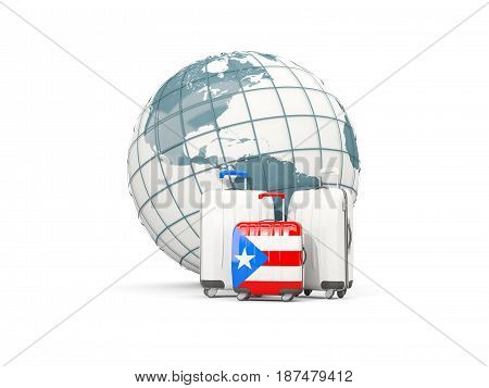 Luggage With Flag Of Puerto Rico. Three Bags In Front Of Globe