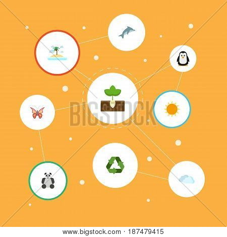 Flat Sprout, China Bear, Isle Beach And Other Vector Elements. Set Of Eco Flat Symbols Also Includes Reuse, Polar, Animal Objects.