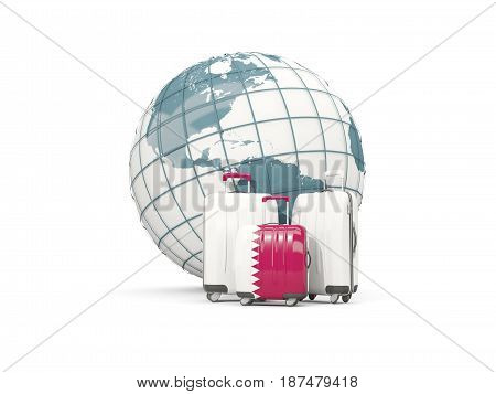 Luggage With Flag Of Qatar. Three Bags In Front Of Globe