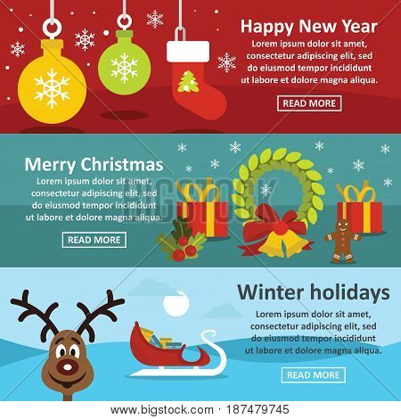 Christmas year banner horizontal concept set. Flat illustration of 3 christmas year vector banner horizontal concepts for web
