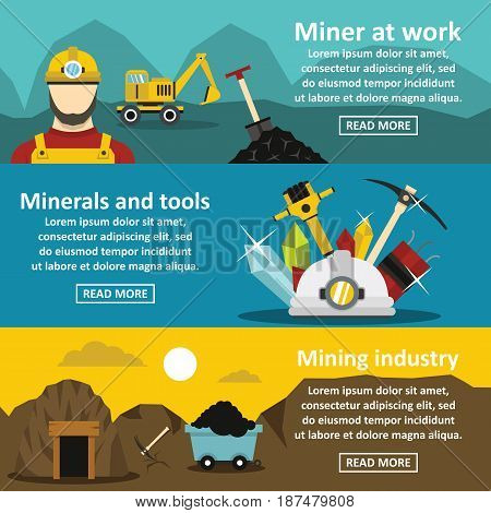 Mining industry banner horizontal concept set. Flat illustration of 3 mining industry vector banner horizontal concepts for web