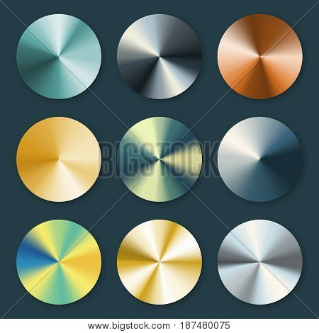 Metallic silver and gold conical metal vector gradients. Metal silver and gold plate illustration