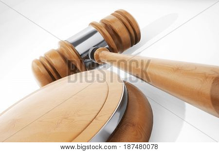 Wooden Judge Hammer Close Up. 3D Rendering.