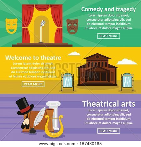 Theatre art banner horizontal concept set. Flat illustration of 3 theatre art vector banner horizontal concepts for web