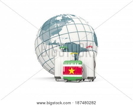 Luggage With Flag Of Suriname. Three Bags In Front Of Globe