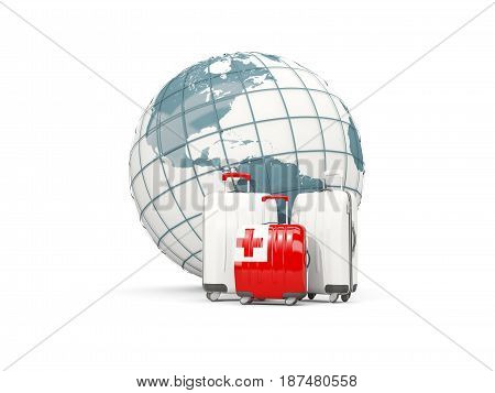 Luggage With Flag Of Tonga. Three Bags In Front Of Globe