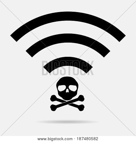 Unsecured public wireless hotspot logo design. Vector illustration business cybercrime concept.