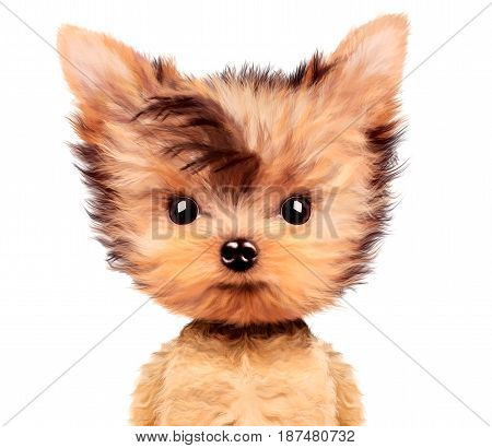 Funny adorable puppy sitting frontal, isolated on white. Realistic illustration of yorkshire terrier with clipping path