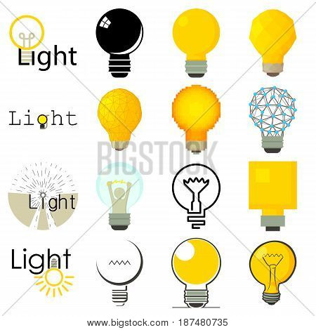 Light lamp icons set. Cartoon illustration of 16 light lamp vector icons for web