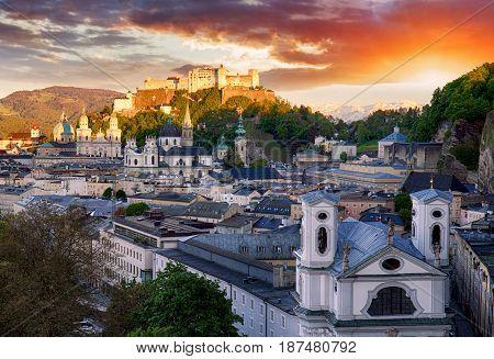 Salzburg castle at sunrise - Hohensalzburg Austria