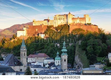 Salzburg castle - Hohensalzburg Austria at sunset