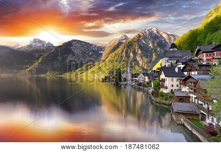 Austria landscape Hallstatt Alp lake mountain at sunrise