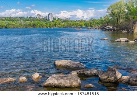 Spring landscape with Dnipro riverside on a Khortytsia island in Zaporizhia city Ukraine