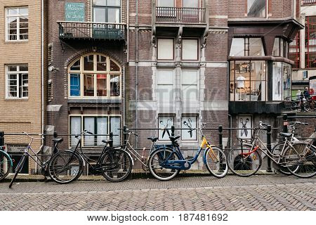 Utrecht Netherlands - August 4 2016: Bicycles in street in historic centre of Utrecht the Netherlands