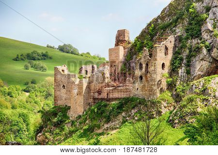Ruin of castle Lednica Slovakia spring landscape