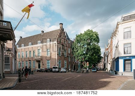 Utrecht Netherlands - August 4 2016: Square in historic centre of Utrecht. Ancient city centre features many buildings and structures several dating as far back as the High Middle Ages.