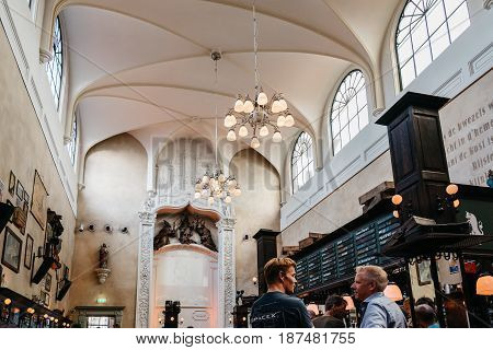 Utrecht Netherlands - August 4 2016: Interior of old church converted in cafe. Ancient city centre features many buildings and structures several dating as far back as the High Middle Ages.