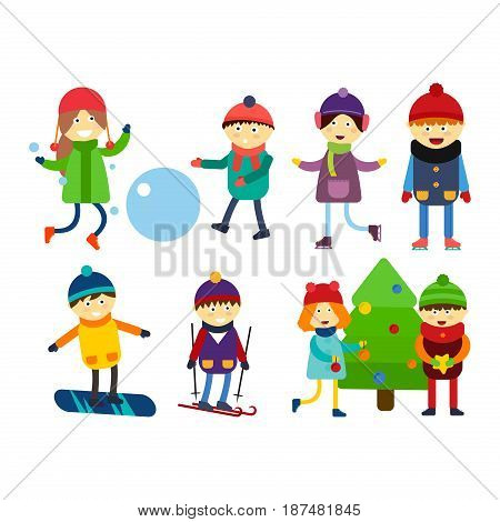 Christmas kids playing winter games skiing sledding cartoon new year winter holidays characters vector illustration. Holiday toy scarf friend greeting december costume.