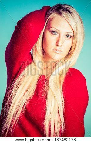 Beautiful young blonde fashion model woman