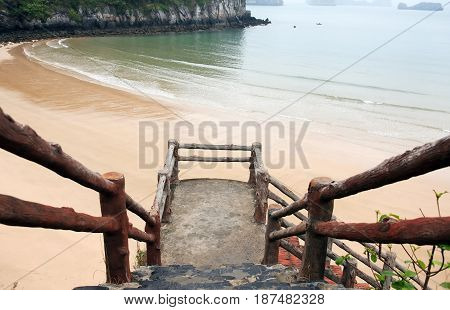 View of nice empty sand beach at Halong Bay in Vietnam