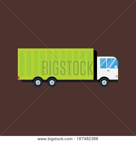 Delivery transport cargo logistic vector illustration. Commercial highway industrial city truck. Fast shipment distribution export courier delivering car.
