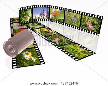 Film roll with color pictures (nature) on white background 3D illustration. All pictures are my own photos.