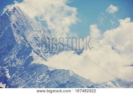 Mountains in Sagarmatha region, Himalaya