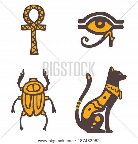 Egypt travel history icons and sybols hand drawn design traditional hieroglyph vector illustration style pharaohs pyramid. Archaeology sign antique ancient monument amulet mythology decor.