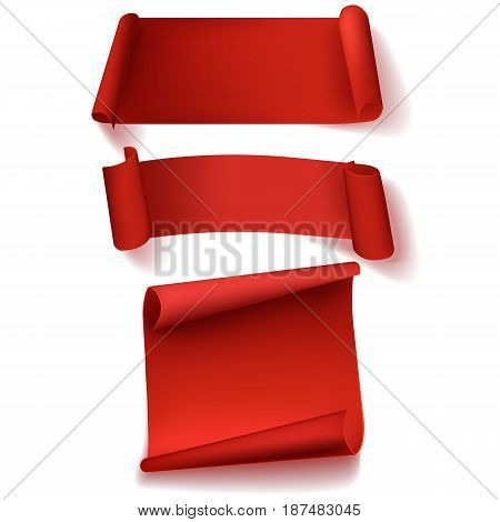 The set of three blank red realistic paper banners. Vector illustration.