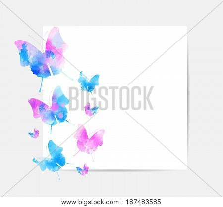 Square background with beautiful watercolored butterflies and copyspace. Vector illustration.