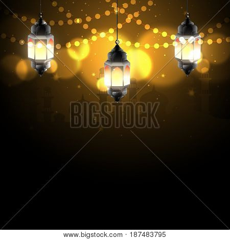 Arabian nights decorated with light from Arabic lamps and bokeh light. Idea for Ramadan Kareem greeting. Vector Illustration.