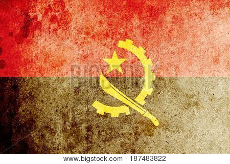 Angola flag grunge background. Background for design in country flag