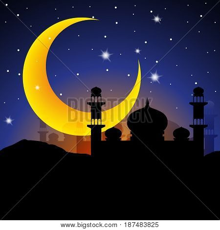 Arabian nights with big crescent moon and starry night. Idea for Ramadan Kareem greeting. Vector Illustration.