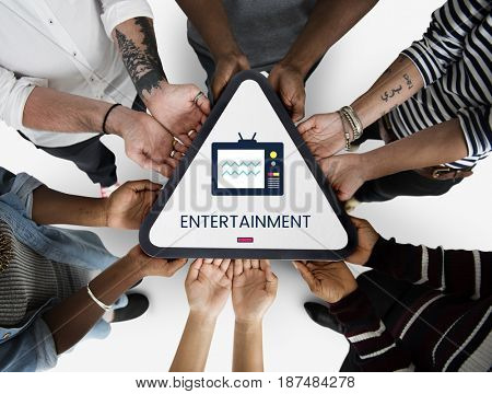 Hands holding banner of TV broadcast media entertainment