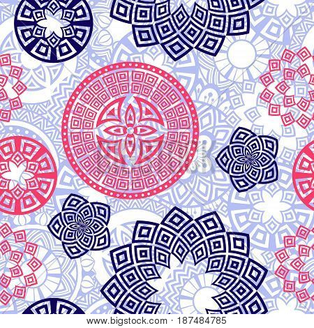Flower Mandala seamless pattern background. Oriental pattern, vintage decorative elements. Islam, Arabic, Indian, moroccan, turkish, ottoman motifs. Blue, white and purple colors. Vector illustration