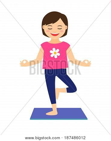 Yoga kids vector illustration. Young girl in yoga pose isolated on white background