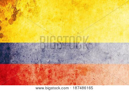 Colombia flag grunge background. Background for design in country flag