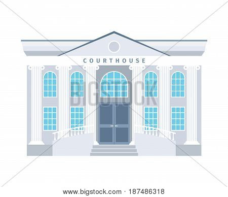 Courthouse flat building icon in blue colors isotaled on white baclground. Vector illustration
