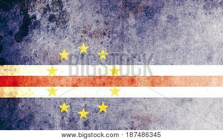 Cape Verde flag grunge background. Background for design in country flag