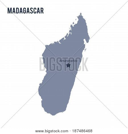 Vector Map Of Madagascar Isolated On White Background.
