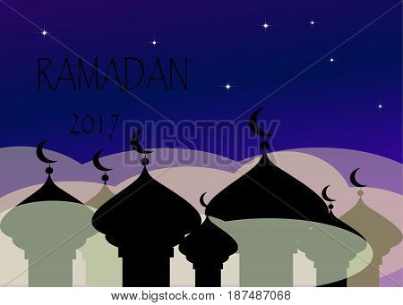 Ramadan Kareem greeting with mosque and hand drawn calligraphy lettering which means ''Ramadan kareem'' on night cloudy background. Vector illustration.
