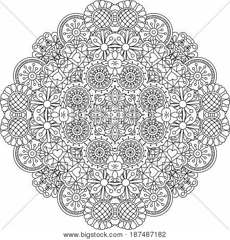 Floral lace style black and white linear round decorative element. Vector illustration