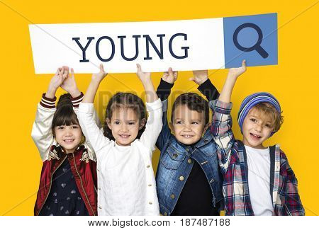 Children with searching banner for childhood