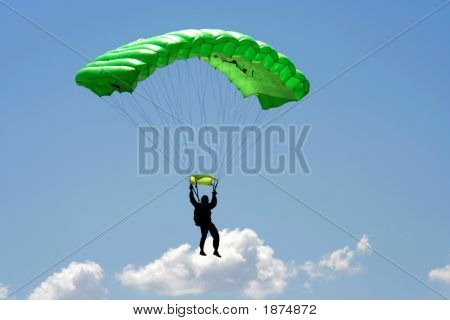 Parachuter And Cloud