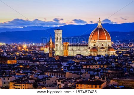Amazingly beautiful view of Florence Duomo during twilight time from Piazzale Michelangelo in Florence, Italy