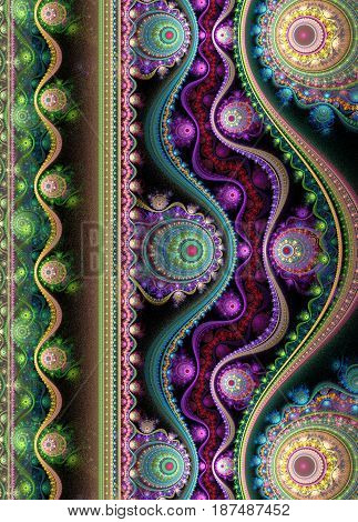 Notebook cover with beautiful pattern in fractal design.