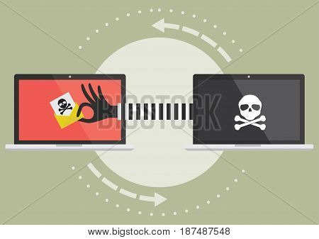 Computer laptop with hacker hand send suspicious email to victim laptop computer. Vector illustration cybercrime concept.
